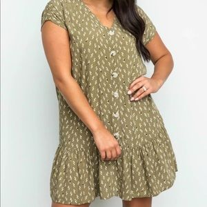 Woven Geometric Printed Button Up Dress